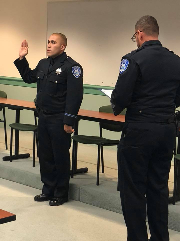 Antioch Officer Arturo Becerra being sworn in