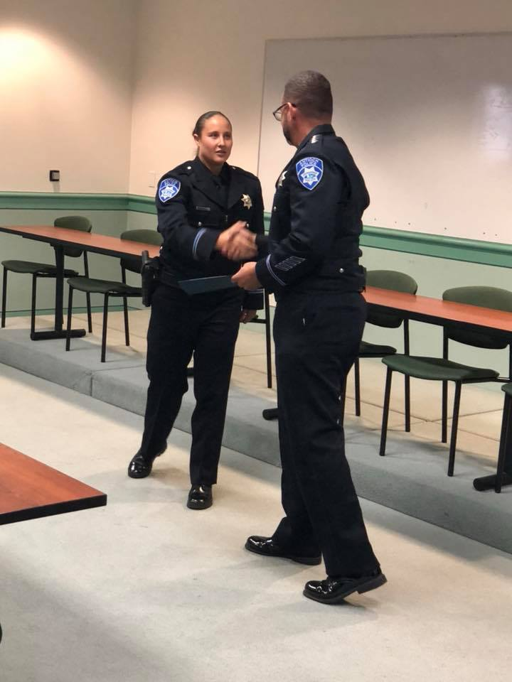 Antioch Chief of Police Brooks and Officer Ashley Allen being sworn in
