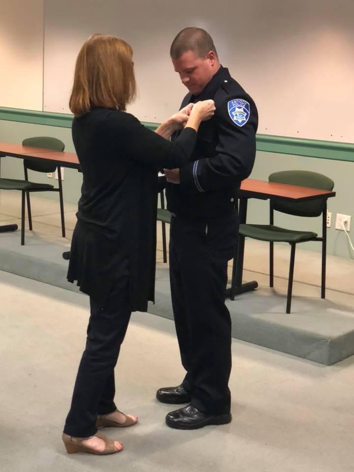Antioch Police Officer Erik Nilsen being sworn in