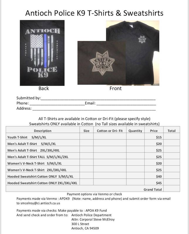 Antioch Police Department k9 - order form
