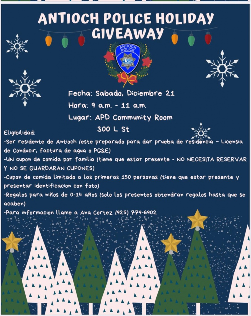 Antioch Police Holiday Giveaway - Spanish