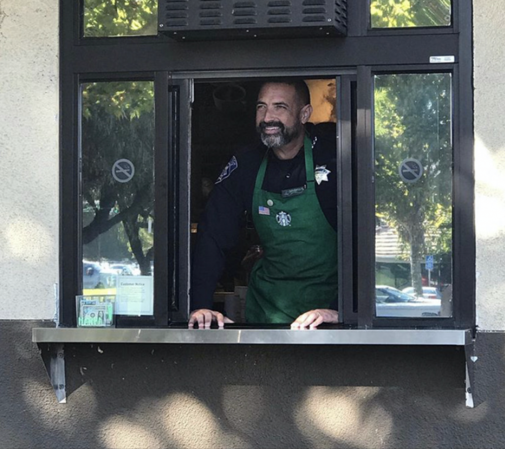Chief Brooks of Antioch Volunteering At Starbucks